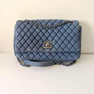 UNBRANDED Blue Quilted Bubble Flap Bag